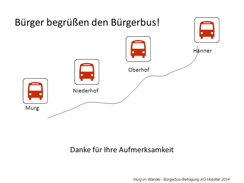 Murg im Wandel - Bürgerbus-Befragung AG Mobilität 2014 Danke für Ihre Aufmerksamkeit Bürger begrüßen den Bürgerbus! Murg Niederhof Oberhof Hänner
