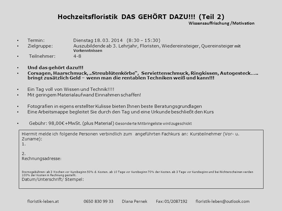 So kommen sie zum Lehrgang Veranstaltungsort: Donaublume Gartenbau GmbH Wolfholzgasse 9 A-2345 Brunn am Gebirge floristik-leben.at 0650 830 99 33 Diana Pernek Fax: 01/2087192 floristik-leben@outlook.com