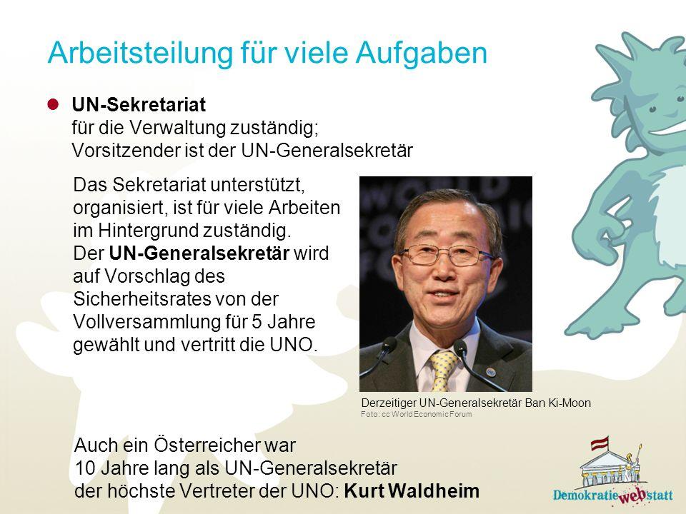 Arbeitsteilung für viele Aufgaben Auch ein Österreicher war 10 Jahre lang als UN-Generalsekretär der höchste Vertreter der UNO: Kurt Waldheim UN-Sekre