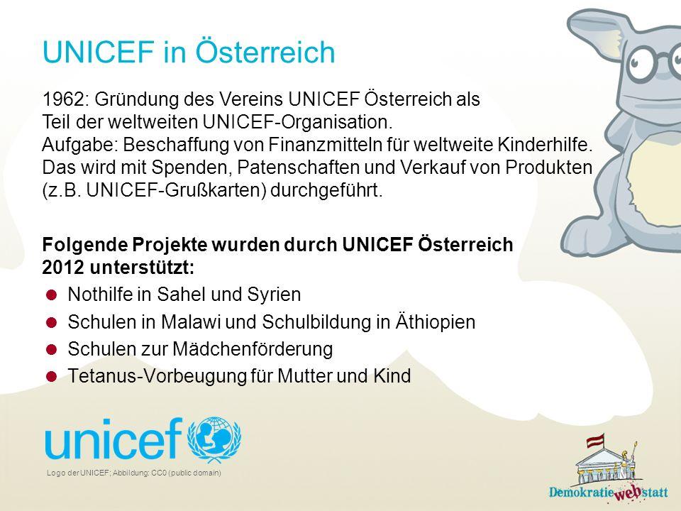 UNICEF in Österreich 1962: Gründung des Vereins UNICEF Österreich als Teil der weltweiten UNICEF-Organisation. Aufgabe: Beschaffung von Finanzmitteln