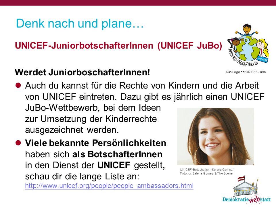 Denk nach und plane… UNICEF-JuniorbotschafterInnen (UNICEF JuBo) Werdet JuniorboschafterInnen! Auch du kannst für die Rechte von Kindern und die Arbei