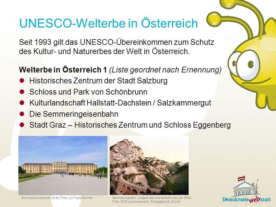 Seit 1993 gilt das UNESCO-Übereinkommen zum Schutz des Kultur- und Naturerbes der Welt in Österreich. Welterbe in Österreich 1 (Liste geordnet nach Er