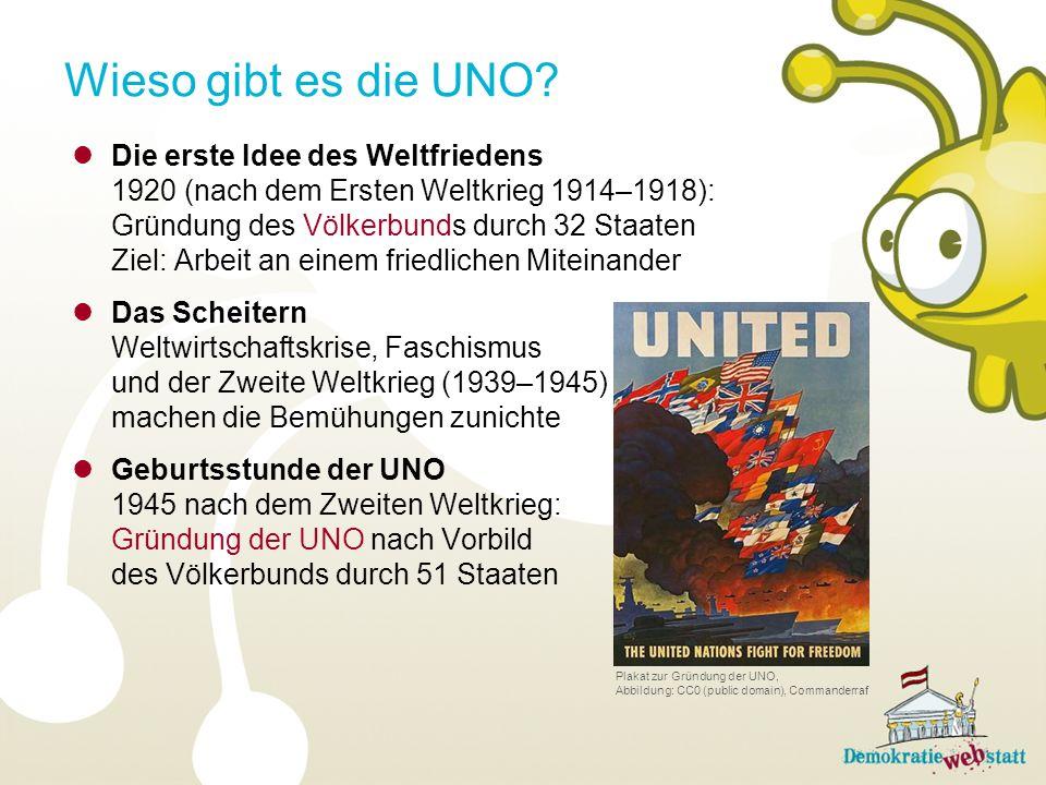 Die erste Idee des Weltfriedens 1920 (nach dem Ersten Weltkrieg 1914–1918): Gründung des Völkerbunds durch 32 Staaten Ziel: Arbeit an einem friedliche