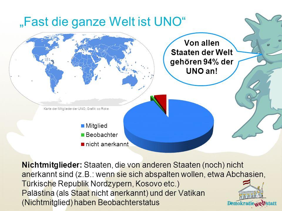 Überlege: Warum ist die Welt auf dem UNO-Logo von Norden gesehen dargestellt, warum nicht so, wie wir sie zumeist abgebildet vorfinden.