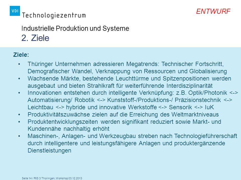 Seite 14 / RIS 3 Thüringen, Workshop 03.12.2013 ENTWURF Industrielle Produktion und Systeme 2. Ziele Ziele: Thüringer Unternehmen adressieren Megatren