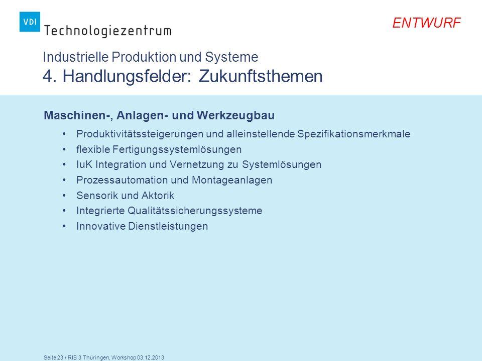 Seite 23 / RIS 3 Thüringen, Workshop 03.12.2013 ENTWURF Industrielle Produktion und Systeme 4. Handlungsfelder: Zukunftsthemen Maschinen-, Anlagen- un