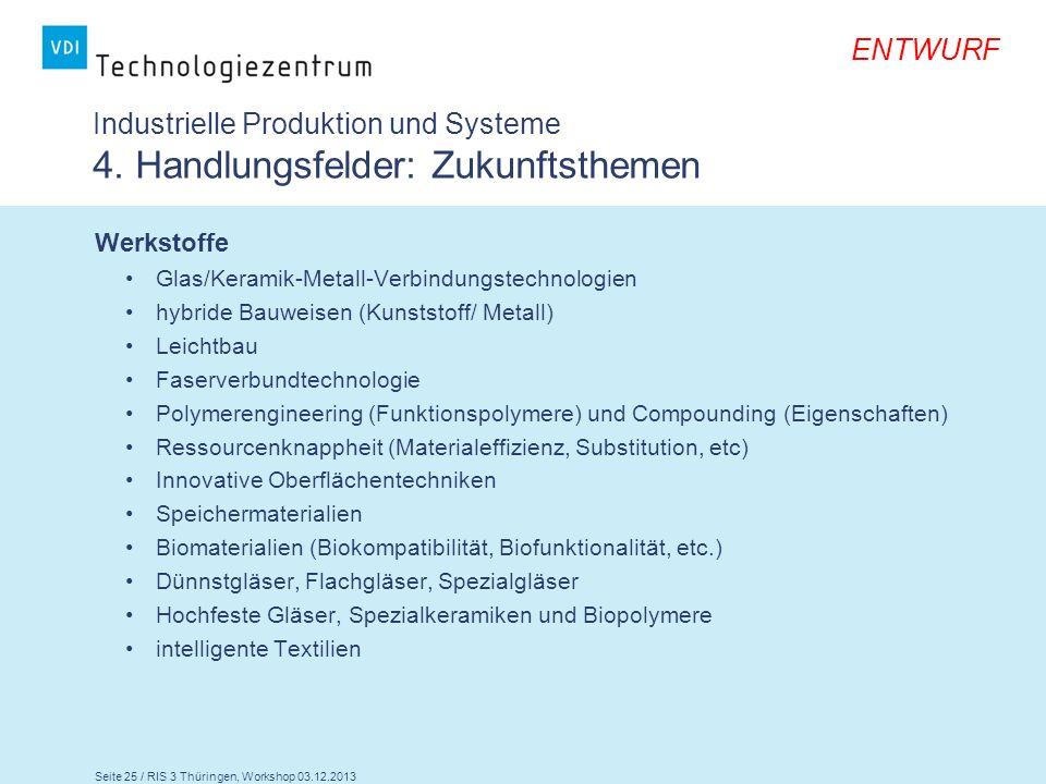 Seite 25 / RIS 3 Thüringen, Workshop 03.12.2013 ENTWURF Industrielle Produktion und Systeme 4. Handlungsfelder: Zukunftsthemen Werkstoffe Glas/Keramik