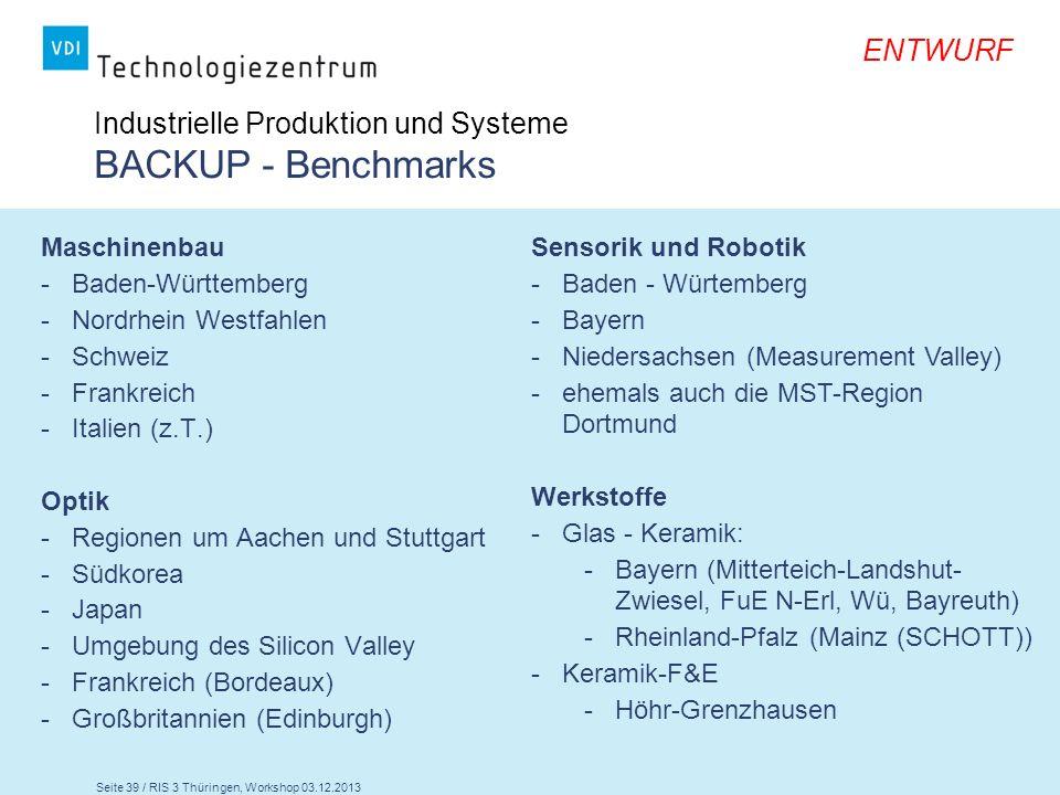 Seite 39 / RIS 3 Thüringen, Workshop 03.12.2013 ENTWURF Maschinenbau -Baden-Württemberg -Nordrhein Westfahlen -Schweiz -Frankreich -Italien (z.T.) Opt