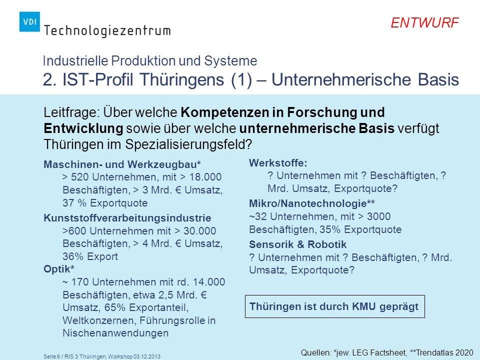 Seite 6 / RIS 3 Thüringen, Workshop 03.12.2013 ENTWURF Industrielle Produktion und Systeme 2. IST-Profil Thüringens (1) – Unternehmerische Basis Masch
