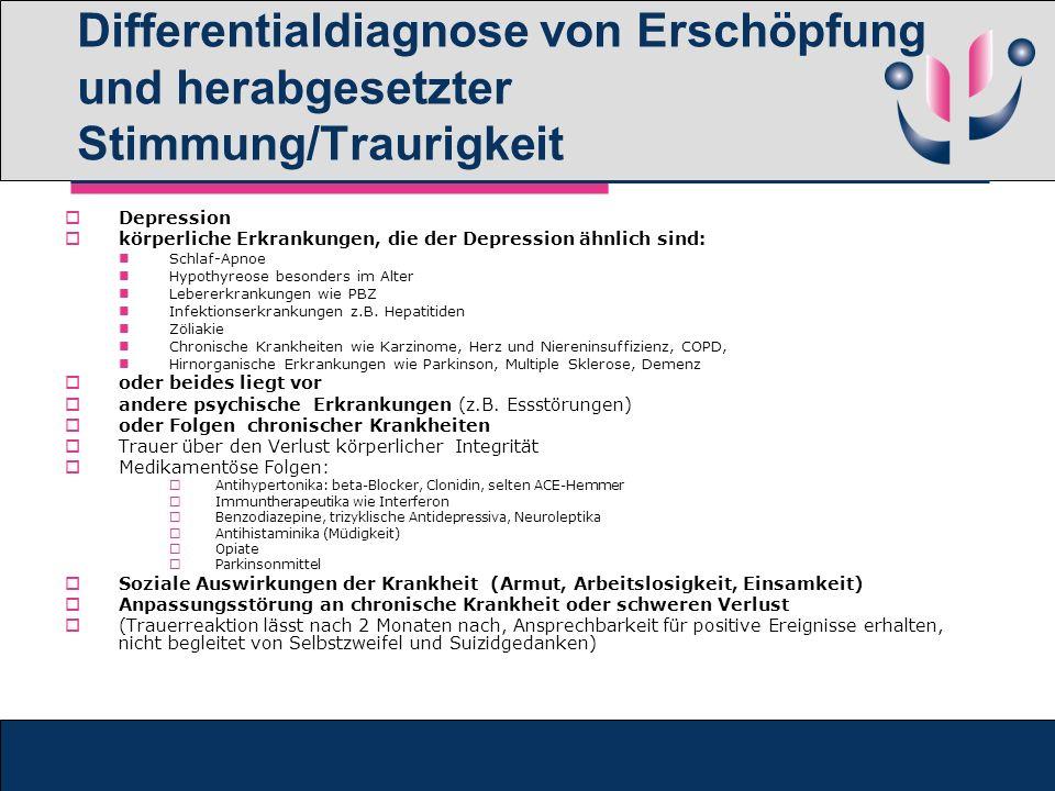 Differentialdiagnose von Erschöpfung und herabgesetzter Stimmung/Traurigkeit Depression körperliche Erkrankungen, die der Depression ähnlich sind: Sch