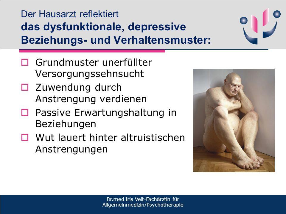 Der Hausarzt reflektiert das dysfunktionale, depressive Beziehungs- und Verhaltensmuster: Grundmuster unerfüllter Versorgungssehnsucht Zuwendung durch