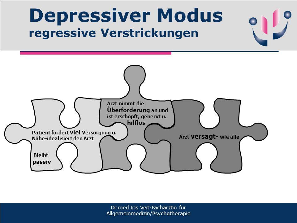 Depressiver Modus regressive Verstrickungen Dr.med Iris Veit-Fachärztin für Allgemeinmedizin/Psychotherapie Arzt nimmt die Überforderung an und ist erschöpft, genervt u.