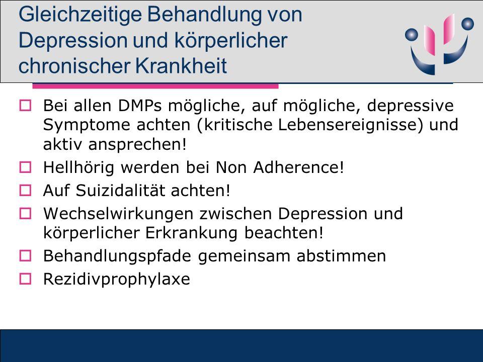 Gleichzeitige Behandlung von Depression und körperlicher chronischer Krankheit Bei allen DMPs mögliche, auf mögliche, depressive Symptome achten (krit