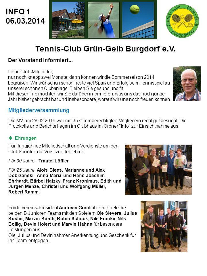 Tennis-Club Grün-Gelb Burgdorf e.V.INFO 1 06.03.2014 Der Vorstand informiert...