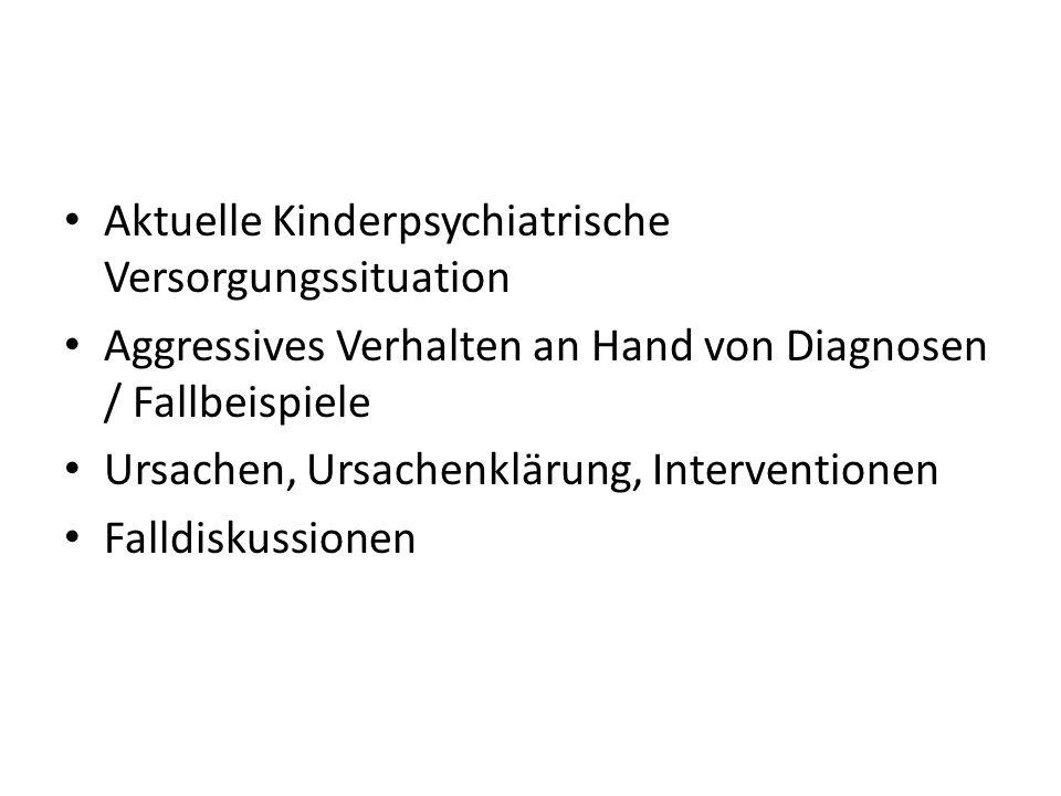 Aktuelle Kinderpsychiatrische Versorgungssituation Aggressives Verhalten an Hand von Diagnosen / Fallbeispiele Ursachen, Ursachenklärung, Intervention