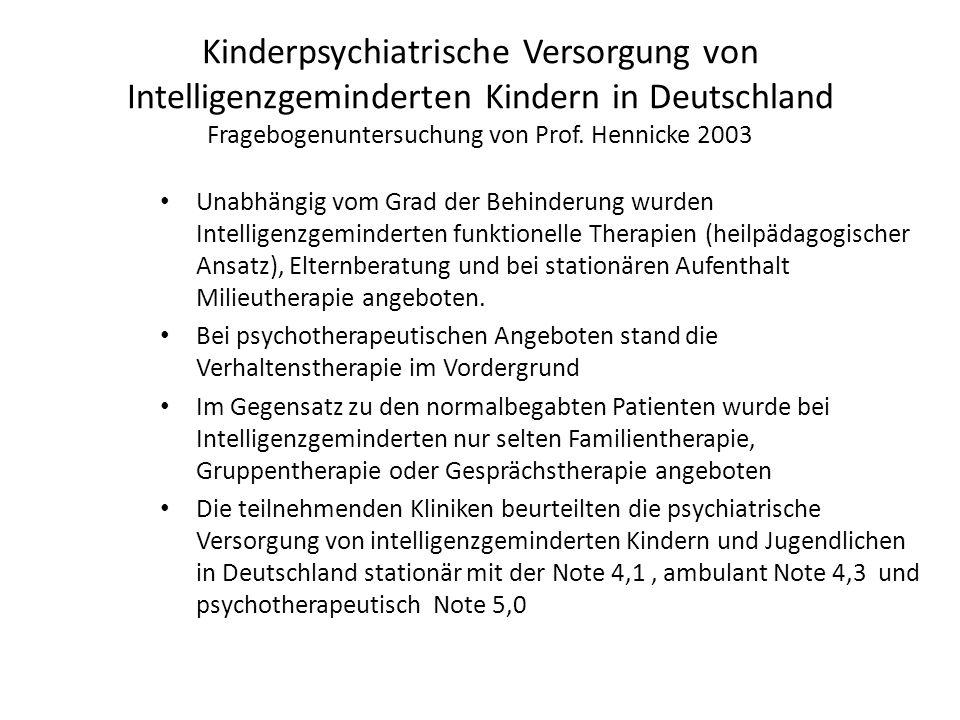 Kinderpsychiatrische Versorgung von Intelligenzgeminderten Kindern in Deutschland Fragebogenuntersuchung von Prof. Hennicke 2003 Unabhängig vom Grad d