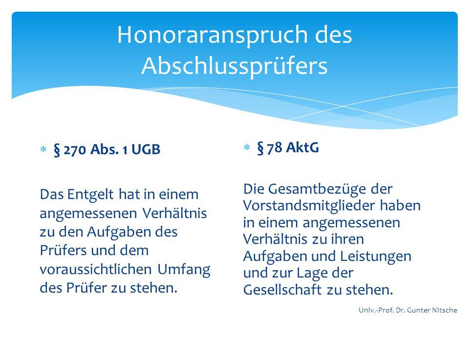 Honoraranspruch des Abschlussprüfers § 270 Abs. 1 UGB Das Entgelt hat in einem angemessenen Verhältnis zu den Aufgaben des Prüfers und dem voraussicht