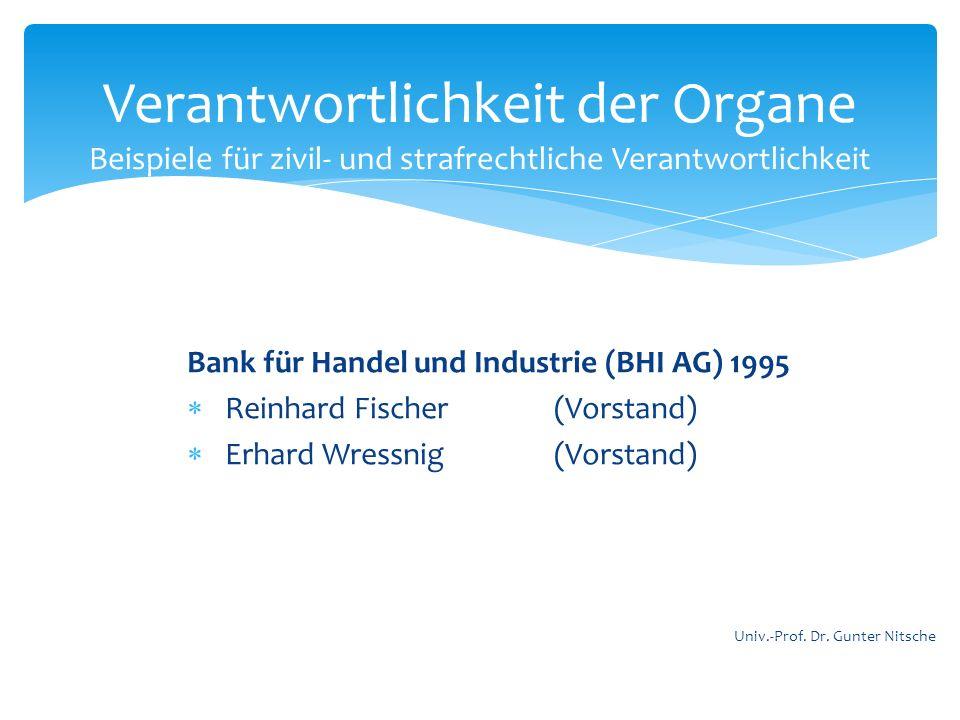 Bank für Handel und Industrie (BHI AG) 1995 Reinhard Fischer (Vorstand) Erhard Wressnig (Vorstand) Verantwortlichkeit der Organe Beispiele für zivil-