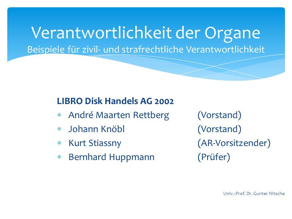 LIBRO Disk Handels AG 2002 André Maarten Rettberg(Vorstand) Johann Knöbl (Vorstand) Kurt Stiassny (AR-Vorsitzender) Bernhard Huppmann (Prüfer) Verantw