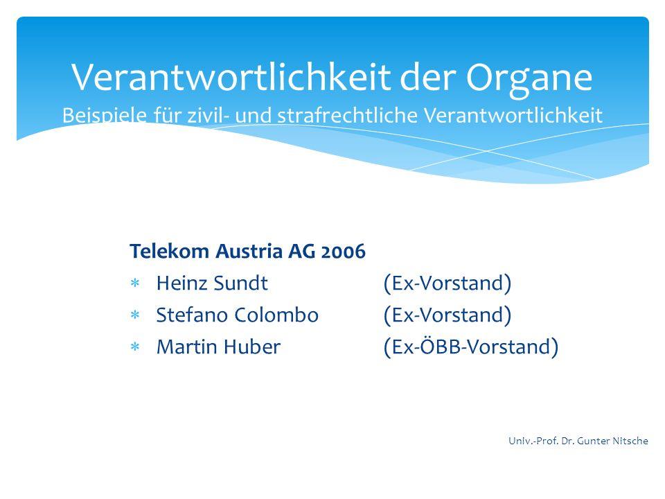 Telekom Austria AG 2006 Heinz Sundt(Ex-Vorstand) Stefano Colombo (Ex-Vorstand) Martin Huber (Ex-ÖBB-Vorstand) Verantwortlichkeit der Organe Beispiele