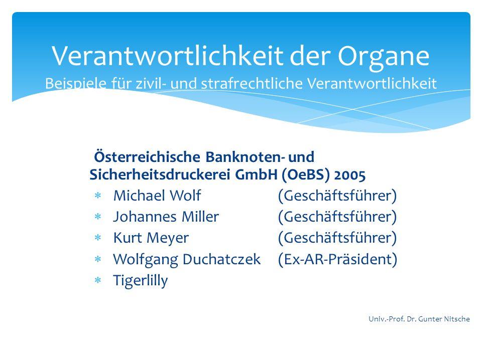 Österreichische Banknoten- und Sicherheitsdruckerei GmbH (OeBS) 2005 Michael Wolf (Geschäftsführer) Johannes Miller (Geschäftsführer) Kurt Meyer (Gesc