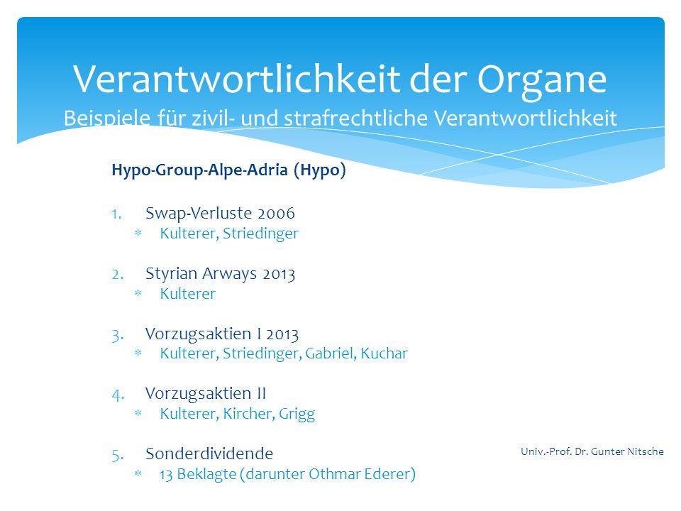 Hypo-Group-Alpe-Adria (Hypo) 1.Swap-Verluste 2006 Kulterer, Striedinger 2.Styrian Arways 2013 Kulterer 3.Vorzugsaktien I 2013 Kulterer, Striedinger, G