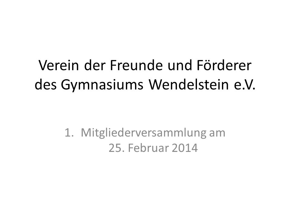 Verein der Freunde und Förderer des Gymnasiums Wendelstein e.V.
