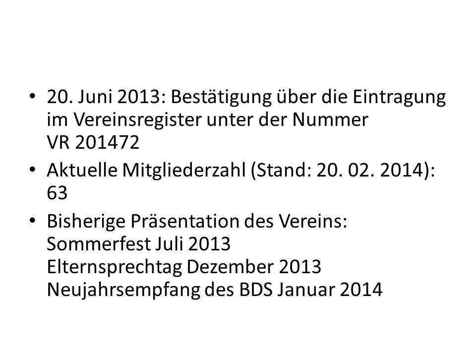 20. Juni 2013: Bestätigung über die Eintragung im Vereinsregister unter der Nummer VR 201472 Aktuelle Mitgliederzahl (Stand: 20. 02. 2014): 63 Bisheri