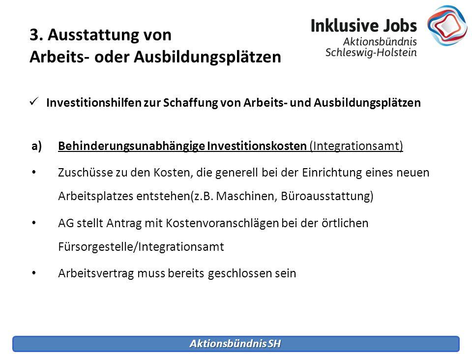 Aktionsbündnis SH 3. Ausstattung von Arbeits- oder Ausbildungsplätzen Investitionshilfen zur Schaffung von Arbeits- und Ausbildungsplätzen a)Behinderu