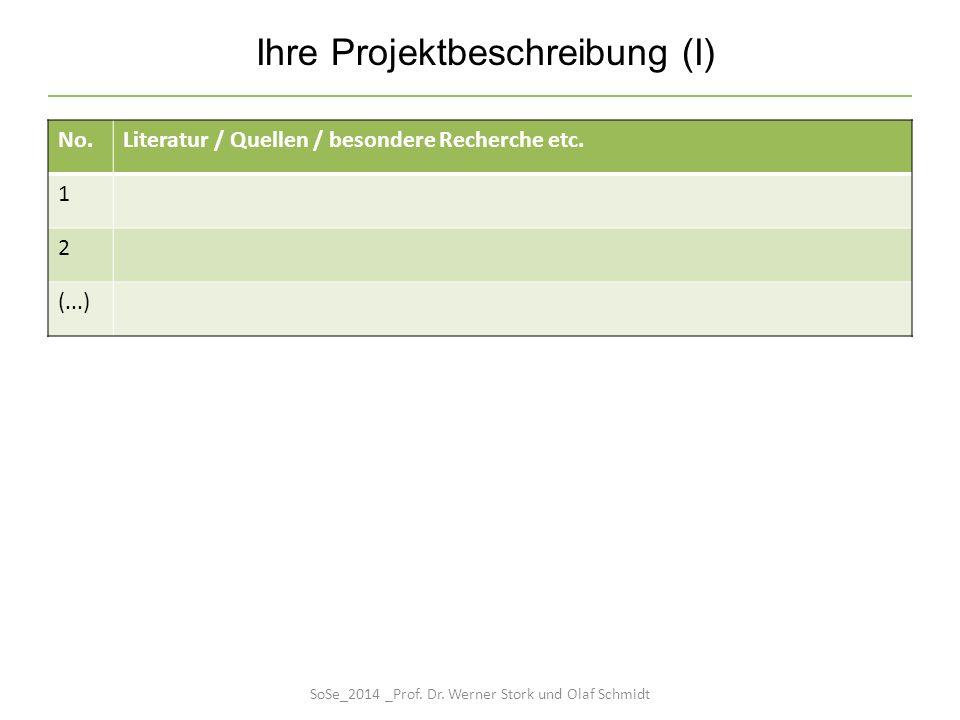 No.Literatur / Quellen / besondere Recherche etc. 1 2 (...) Ihre Projektbeschreibung (I) SoSe_2014 _Prof. Dr. Werner Stork und Olaf Schmidt