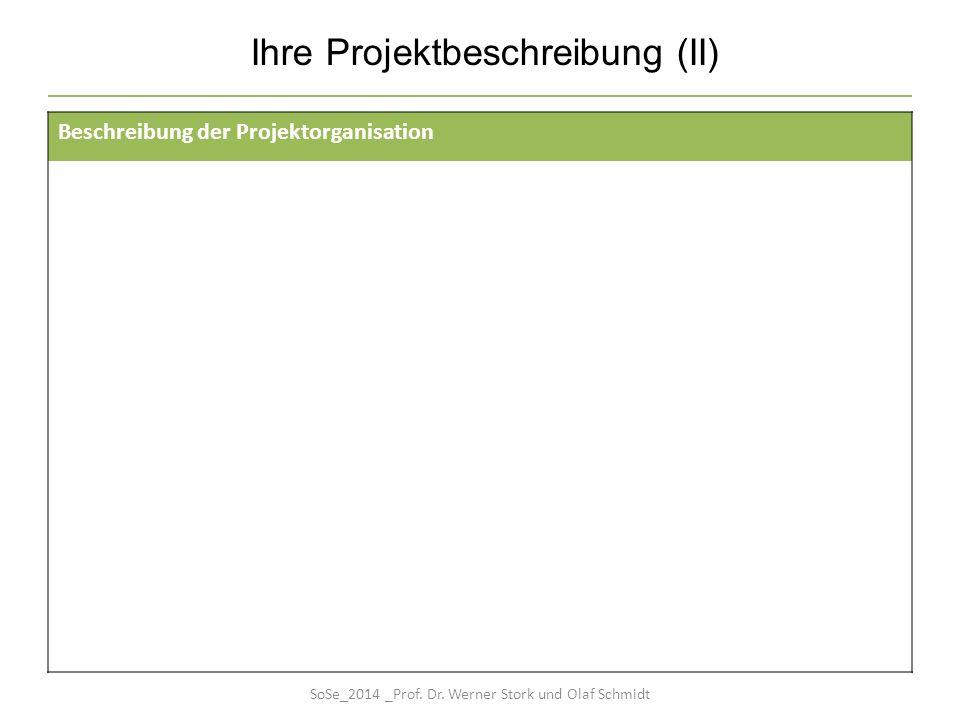 Ihre Projektbeschreibung (II) Beschreibung der Projektorganisation SoSe_2014 _Prof. Dr. Werner Stork und Olaf Schmidt