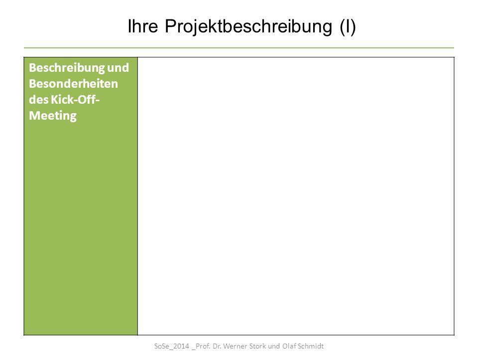 Ihre Projektbeschreibung (I) Beschreibung und Besonderheiten des Kick-Off- Meeting SoSe_2014 _Prof. Dr. Werner Stork und Olaf Schmidt