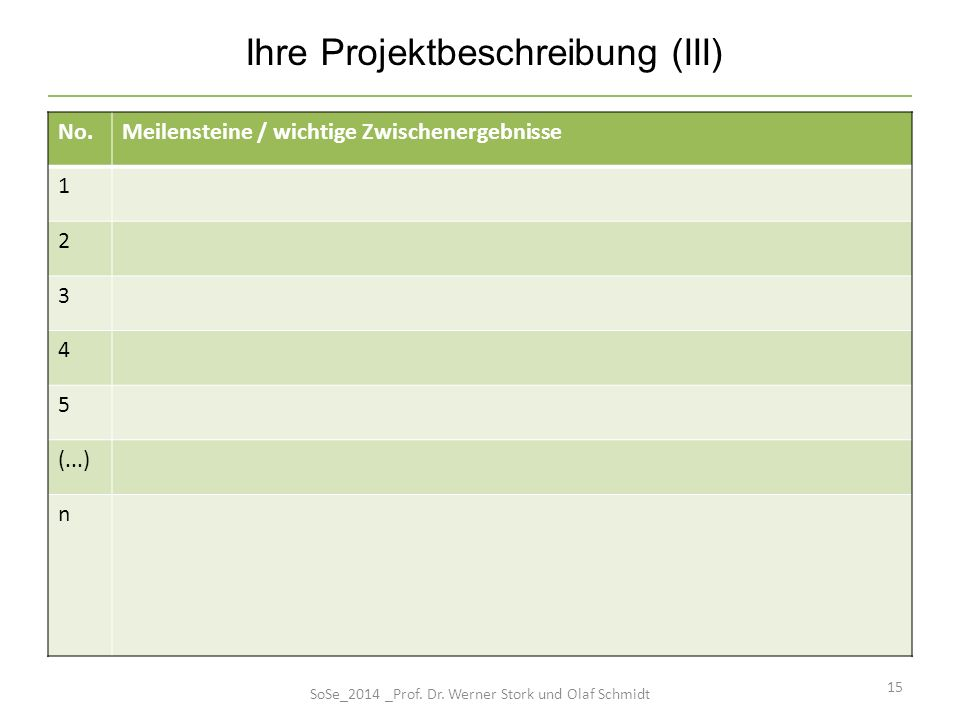 15 No.Meilensteine / wichtige Zwischenergebnisse 1 2 3 4 5 (...) n Ihre Projektbeschreibung (III) SoSe_2014 _Prof. Dr. Werner Stork und Olaf Schmidt