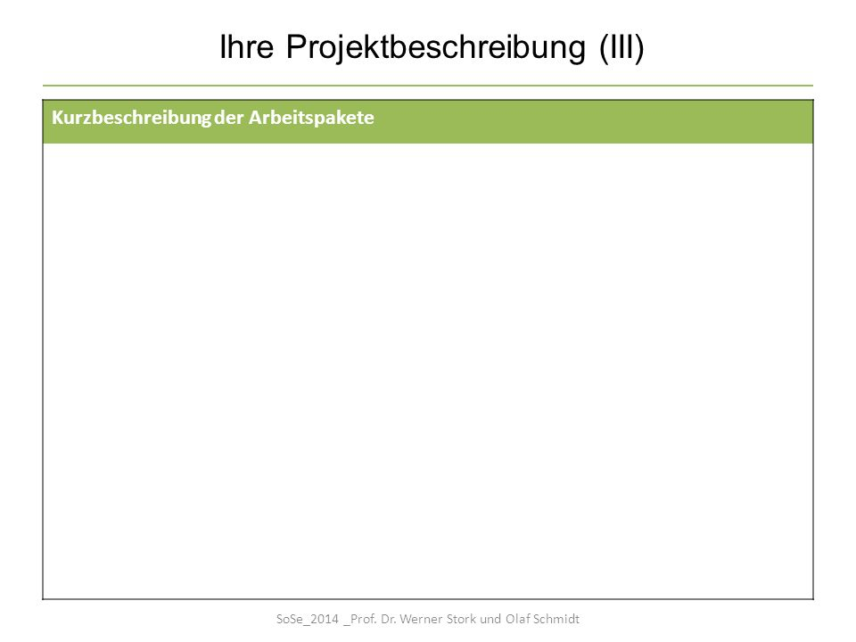 Ihre Projektbeschreibung (III) Kurzbeschreibung der Arbeitspakete SoSe_2014 _Prof. Dr. Werner Stork und Olaf Schmidt
