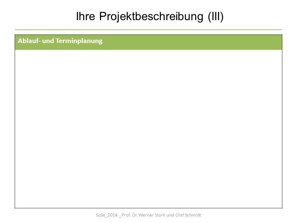 Ihre Projektbeschreibung (III) Ablauf- und Terminplanung SoSe_2014 _Prof. Dr. Werner Stork und Olaf Schmidt