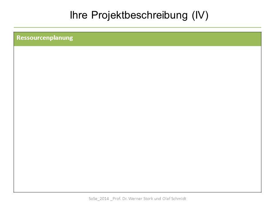 Ihre Projektbeschreibung (IV) Ressourcenplanung SoSe_2014 _Prof. Dr. Werner Stork und Olaf Schmidt