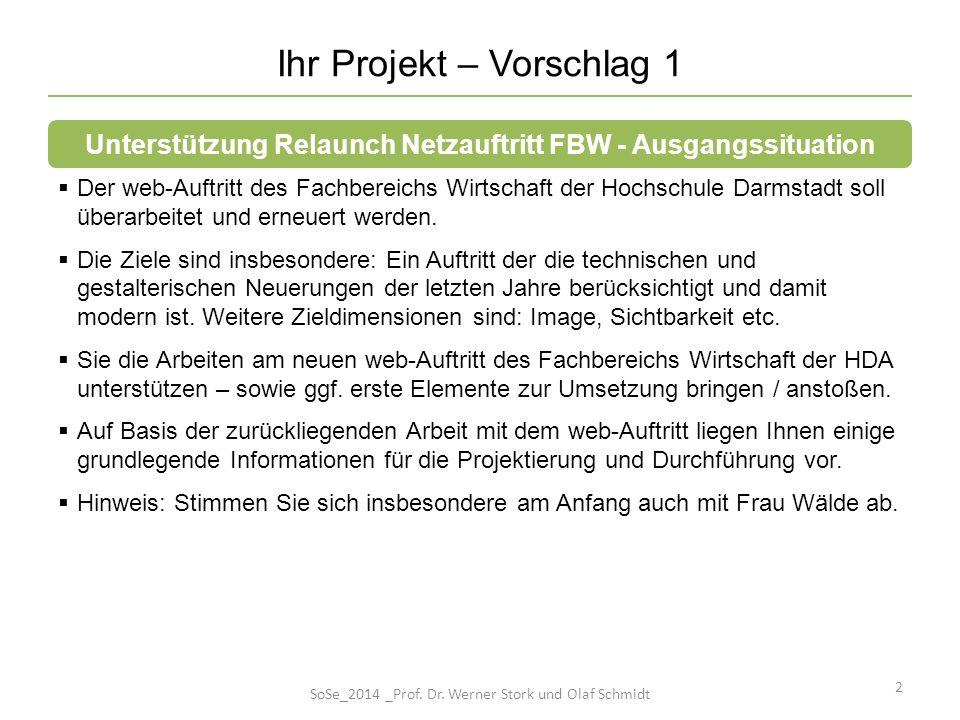 Ihr Projekt – Vorschlag 1 Der web-Auftritt des Fachbereichs Wirtschaft der Hochschule Darmstadt soll überarbeitet und erneuert werden. Die Ziele sind