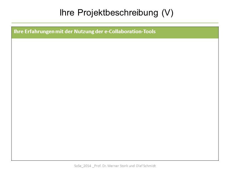 Ihre Projektbeschreibung (V) Ihre Erfahrungen mit der Nutzung der e-Collaboration-Tools SoSe_2014 _Prof. Dr. Werner Stork und Olaf Schmidt