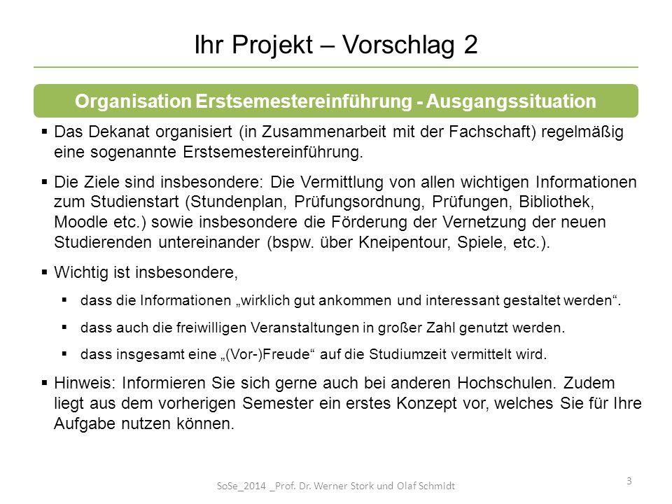 Ihr Projekt – Vorschlag 2 3 Das Dekanat organisiert (in Zusammenarbeit mit der Fachschaft) regelmäßig eine sogenannte Erstsemestereinführung. Die Ziel