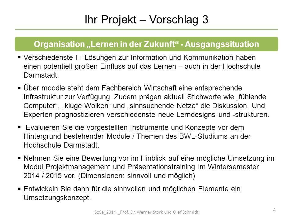 15 No.Meilensteine / wichtige Zwischenergebnisse 1 2 3 4 5 (...) n Ihre Projektbeschreibung (III) SoSe_2014 _Prof.