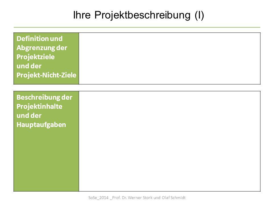 Ihre Projektbeschreibung (I) Definition und Abgrenzung der Projektziele und der Projekt-Nicht-Ziele Beschreibung der Projektinhalte und der Hauptaufga