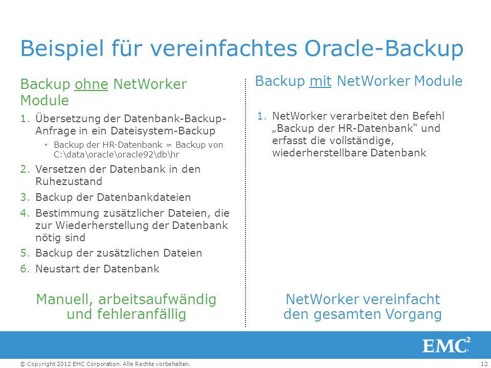 12© Copyright 2012 EMC Corporation. Alle Rechte vorbehalten. Beispiel für vereinfachtes Oracle-Backup Backup ohne NetWorker Module 1.Übersetzung der D