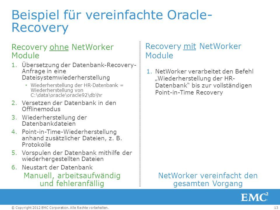 13© Copyright 2012 EMC Corporation. Alle Rechte vorbehalten. Beispiel für vereinfachte Oracle- Recovery Recovery ohne NetWorker Module 1.Übersetzung d