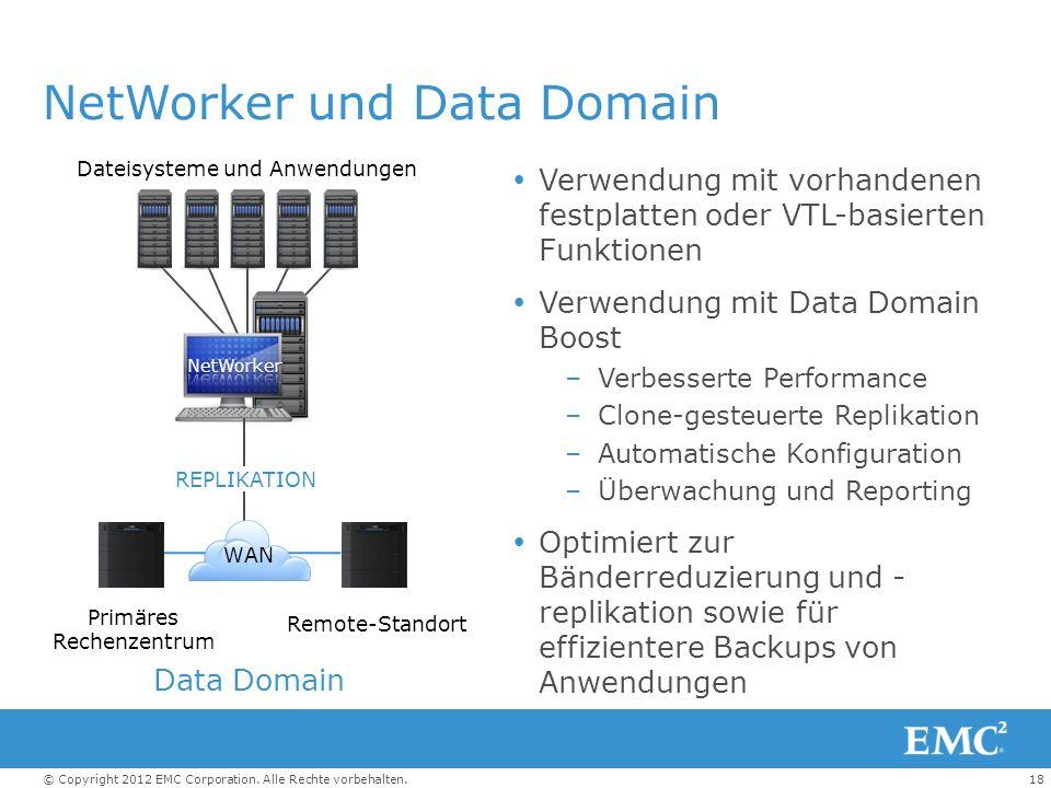 18© Copyright 2012 EMC Corporation. Alle Rechte vorbehalten. NetWorker und Data Domain Verwendung mit vorhandenen festplatten oder VTL-basierten Funk
