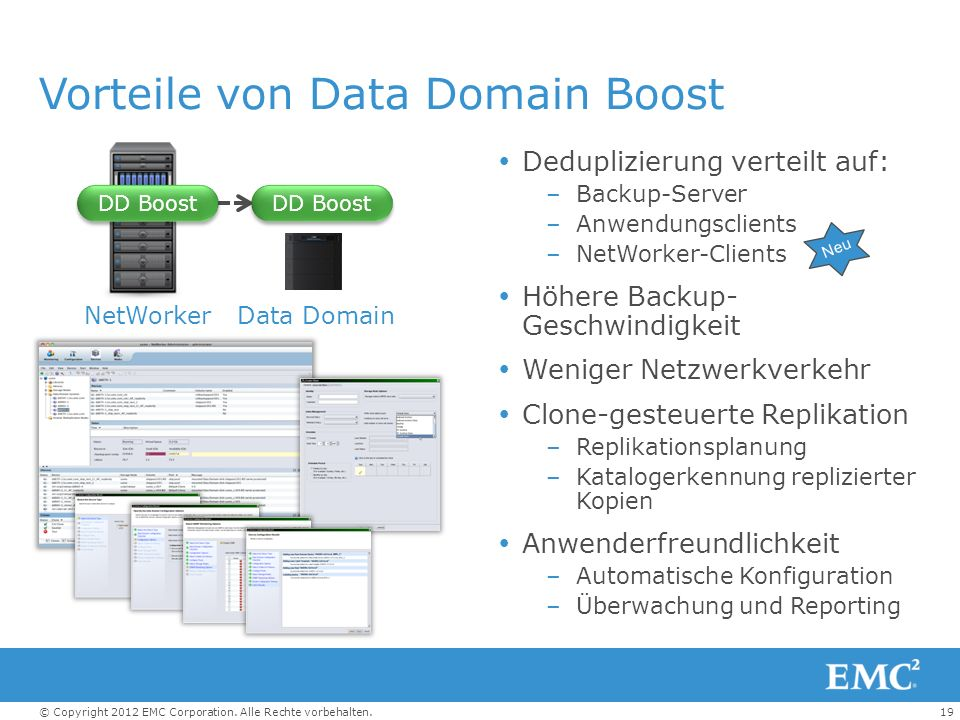 19© Copyright 2012 EMC Corporation. Alle Rechte vorbehalten. Vorteile von Data Domain Boost Deduplizierung verteilt auf: –Backup-Server –Anwendungscli