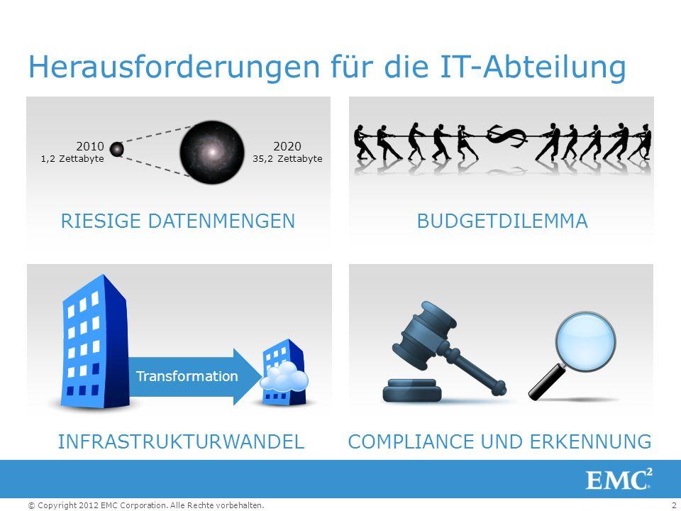 2© Copyright 2012 EMC Corporation. Alle Rechte vorbehalten. RIESIGE DATENMENGENBUDGETDILEMMA INFRASTRUKTURWANDEL Herausforderungen für die IT-Abteilun