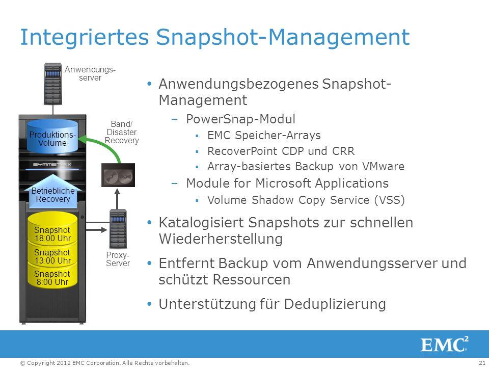 21© Copyright 2012 EMC Corporation. Alle Rechte vorbehalten. Integriertes Snapshot-Management Anwendungsbezogenes Snapshot- Management –PowerSnap-Modu