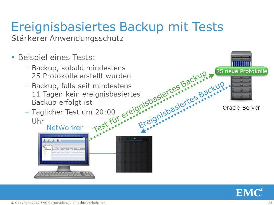 23© Copyright 2012 EMC Corporation. Alle Rechte vorbehalten. Ereignisbasiertes Backup mit Tests Stärkerer Anwendungsschutz Beispiel eines Tests: –Back