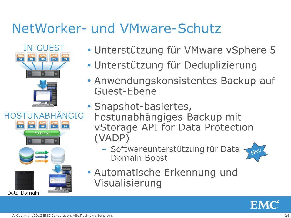 24© Copyright 2012 EMC Corporation. Alle Rechte vorbehalten. NetWorker- und VMware-Schutz Unterstützung für VMware vSphere 5 Unterstützung für Dedupli