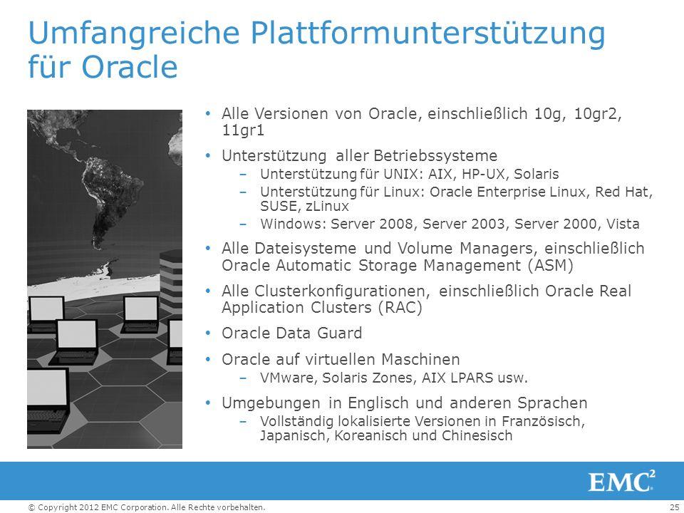 25© Copyright 2012 EMC Corporation. Alle Rechte vorbehalten. Umfangreiche Plattformunterstützung für Oracle Alle Versionen von Oracle, einschließlich